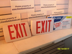 KZ Quantum 142AN4 Thermoplastic LED Emergency Exit Sign with White Housing & Red Letters