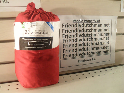 "KZ Mainstays 200-Thread-Count RED Queen fitted sheet 60"" x 80"" x 12"""