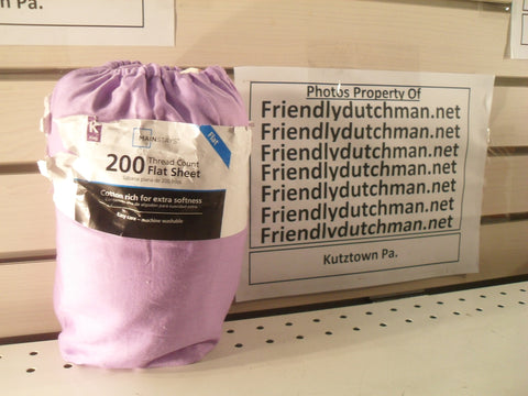 "KZ Mainstays 200-Thread-Count LAVENDAR King flat sheet 108"" x 102"""