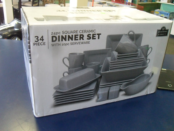 *KZ Nova WM-34SQ-GRAY 24-Piece Square Dinnerware Set Plus 10 Bonus Serving Pieces