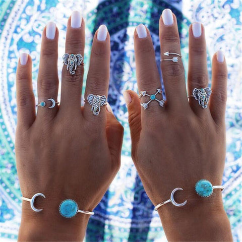 6PCS/Set Vintage Bohemian Ring Set