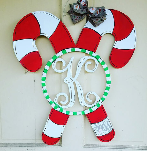 Candy Canes with Initial