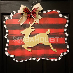 Buffalo Plaid Scrolly Sign