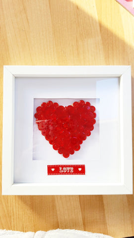 Red button heart - 14x14cm