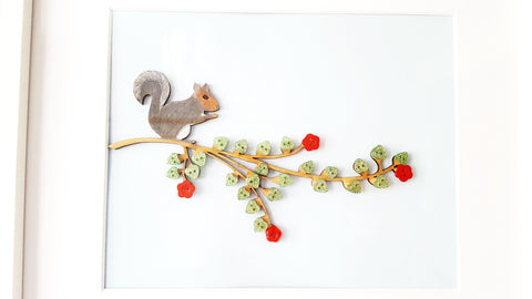 Hand decorated Squirrel on a Button Branch - 19 x 24cm - STDAVIDS.WALES