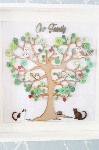 STDAVIDS.WALES:Bespoke Button Family Tree - 32 x 33cm:Treekle:Canvas