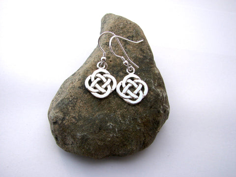 STDAVIDS.WALES:Sterling silver Arthur's Celtic drop earrings:Celtic Treasure:Earrings