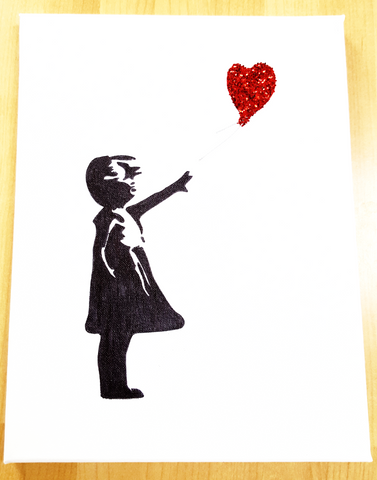 Banksy Inspired - Girl with a Balloon - 30 x 23cm on Canvas - STDAVIDS.WALES