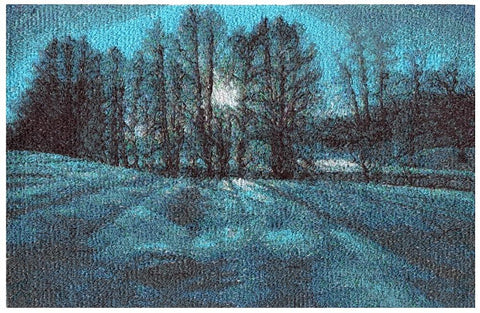 Embroidered Art - Blue Moon - STDAVIDS.WALES