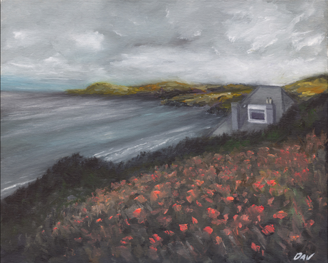 STDAVIDS.WALES:'Distance St.Davids Head' Oil on Canvas:Dafydd Richards:Paintings