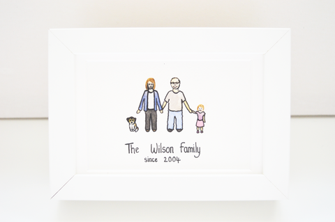 STDAVIDS.WALES:'My Family' - Personalised framed Watercolour:Me & Ffi:Picture