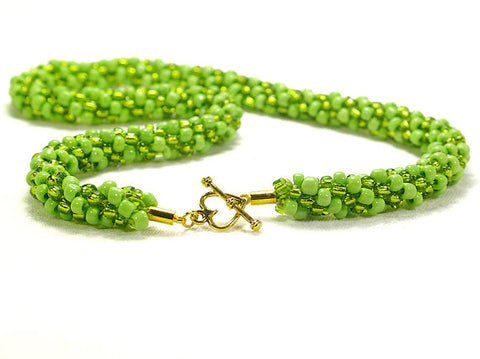 Lime Green Beaded 'Kumihimo' Necklace - STDAVIDS.WALES