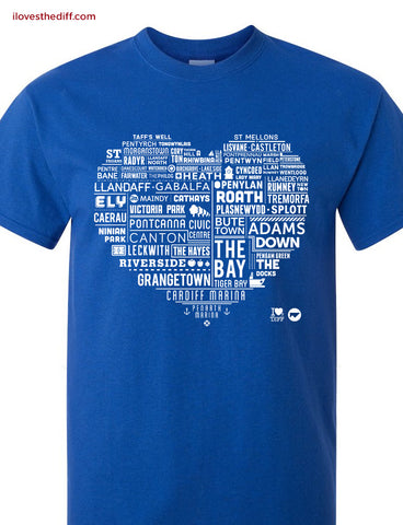 STDAVIDS.WALES:Cardiff Heart T-shirt:I Loves the 'Diff:T shirt