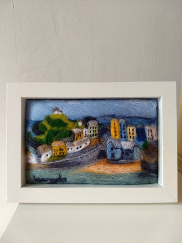 STDAVIDS.WALES:Needle felted Tenby Harbour,:Lynney Lainey Loo:Art