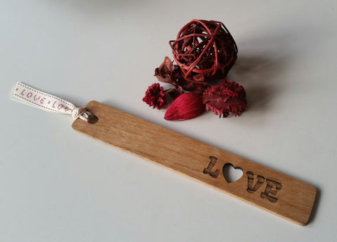 STDAVIDS.WALES:LOVE Oak Wooden Bookmark (twin pack):COTTAGE COPPICING:WOOD WORK