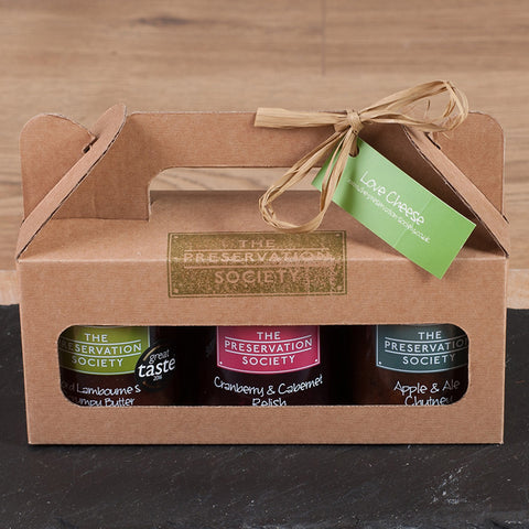 STDAVIDS.WALES:'Love Cheese' - 3 Jar Gift Set Chutneys & Relishes:The Preservation Society:Preserves