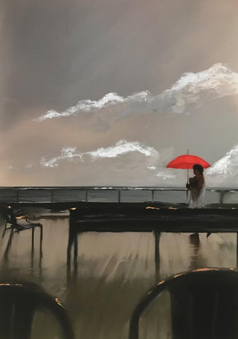 STDAVIDS.WALES:Red Umbrella - Canvas:Christopher Langley:Oil on Canvas