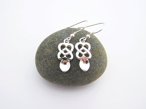 STDAVIDS.WALES:Sterling Silver Love spoon Earrings:Celtic Treasure:Earrings