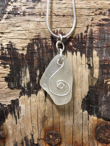 STDAVIDS.WALES:'Spiral Drift' Silver Sea Glass Pendant:Becky Lloyd - St. Davids Sea Glass:Necklace