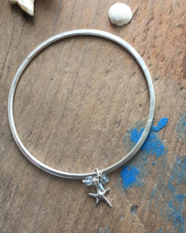 STDAVIDS.WALES:STARFISH CHARM BANGLE:Beachcomber Jewellery:bracelet