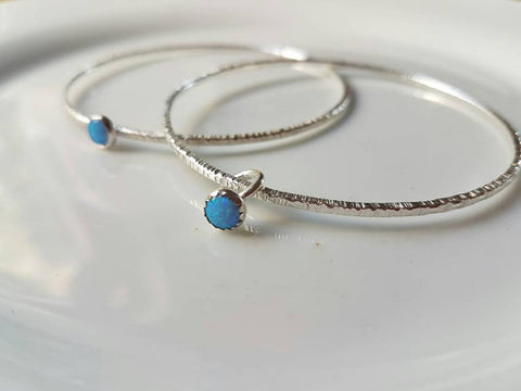 Sterling Silver stacking bangle with mini ring charm - STDAVIDS.WALES
