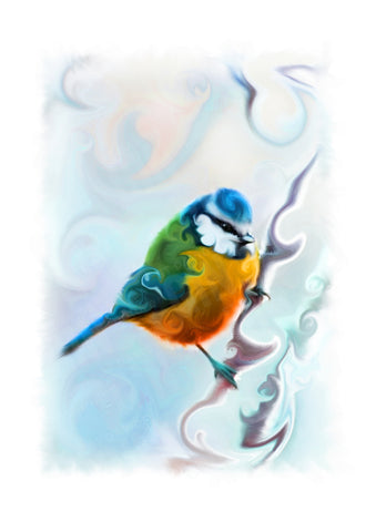 STDAVIDS.WALES:'Bright-Eyed Bluetit' Mounted Print:St Davids Gin & Kitchen:Art