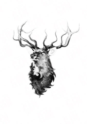 'The Stag' Ramsey Series Mounted Print - STDAVIDS.WALES