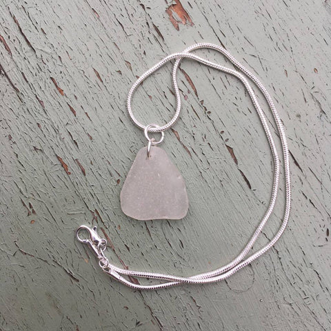'Glacier' silver sea glass pendant