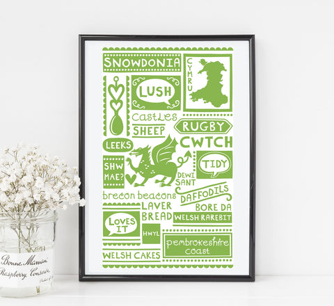 STDAVIDS.WALES:Wales graphic art print in green:WELSH ORIGINALS: