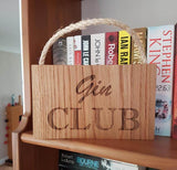 Gin Club hanging oak wooden sign
