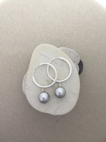 STDAVIDS.WALES:Sterling silver 1.5cm creole hoops with Swarovski silver pearl:Lauri-Li Design:Jewellery