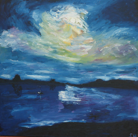 STDAVIDS.WALES:Moonrise Over Beggar's Reach - 90x90cms  (Oil on Canvas):Sam Howley:Paintings