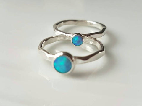 Sterling silver ring with Blue Opal - STDAVIDS.WALES
