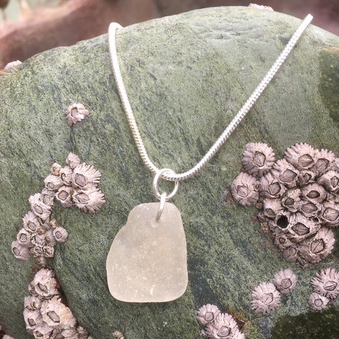 'Ocean Frost' silver sea glass pendant