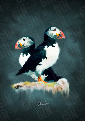 STDAVIDS.WALES:'Pair of Puffins' Mounted Print:St Davids Gin & Kitchen:Art