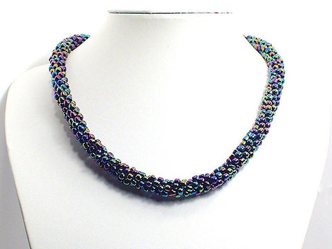 Purple Iris Beaded 'Kumihimo' Necklace