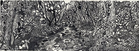 Indian ink and quill drawing print 'River (2)'