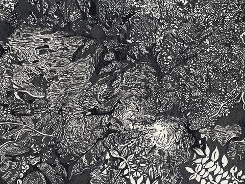 Indian ink and quill drawing print 'River'