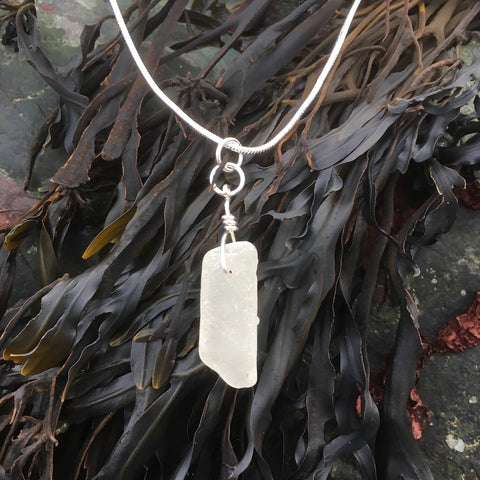 'Sea Icicle' silver sea glass pendant