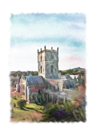 STDAVIDS.WALES:'St Davids Cathedral In Spring' Mounted Print:St Davids Gin & Kitchen:Art