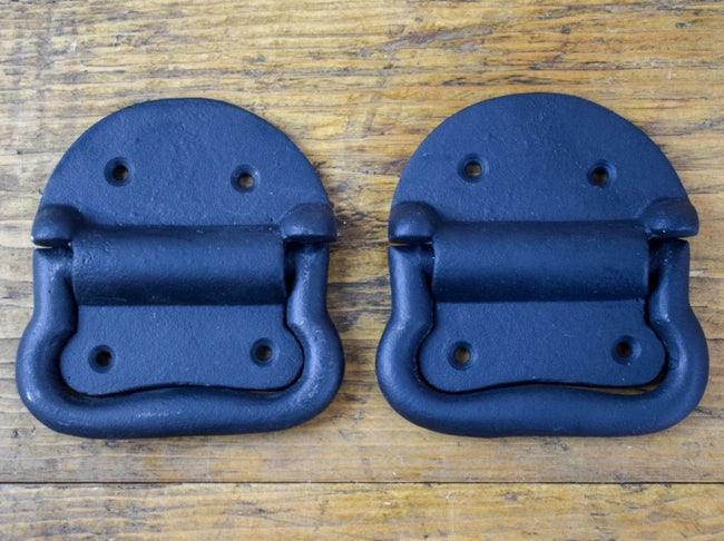 Pair of Vintage Antique Style New Black Cast Iron Chest Box Drawer Pull Handles