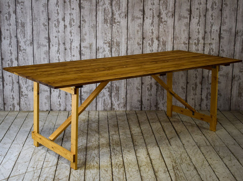 Vintage Metal and Wood Worn Blue Paint Console Side Trestle Table Industrial