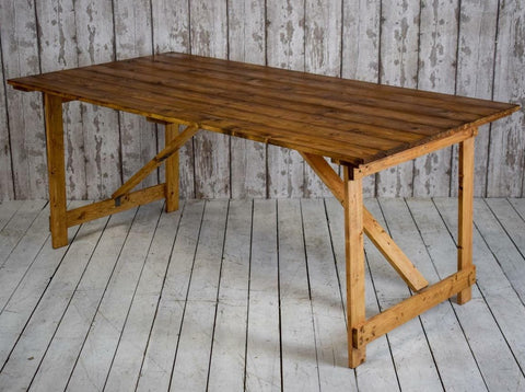 Vintage Metal and Wood Worn Green Paint Console Side Trestle Table Industrial