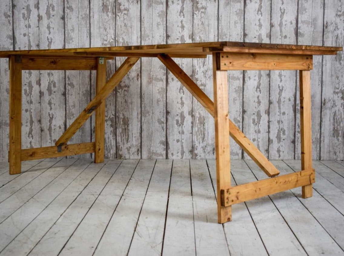 6ft x 3ft Wide Vintage Style Pine Trestle Kitchen Dining Wedding Hire Table