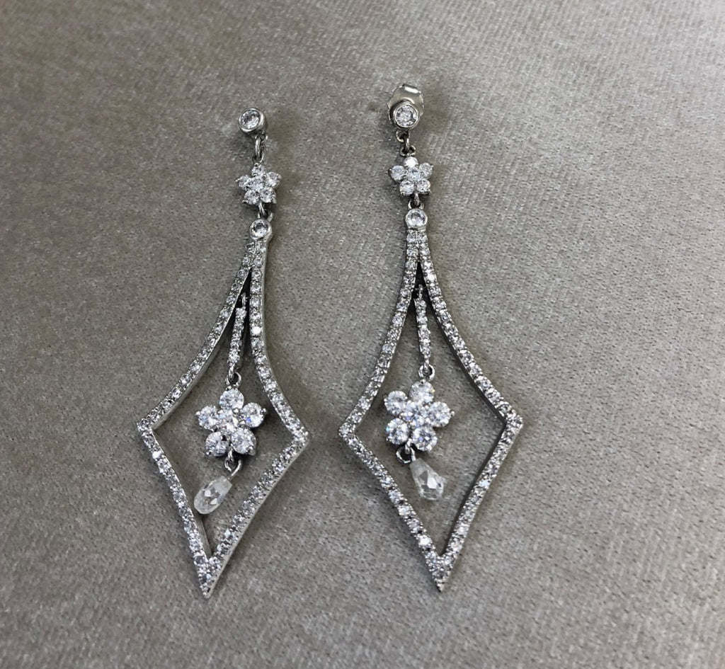 Crystal Flower Drop Earrings - The Persnickety Bride