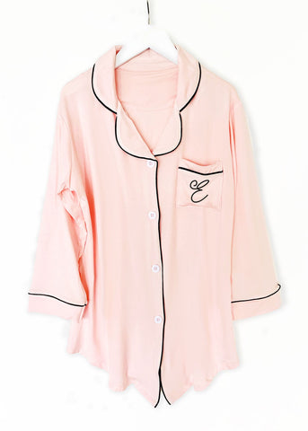 Monogram Satin Lace Robe