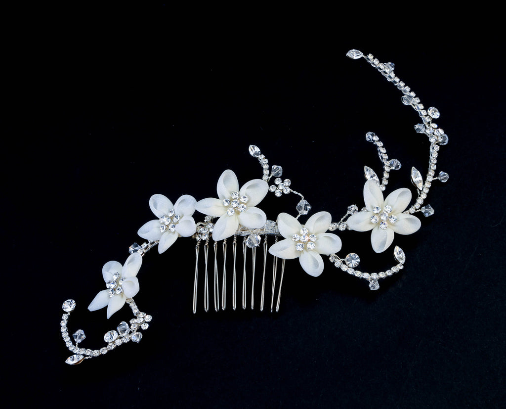 Crystal Floral Climbing Hair Comb - The Persnickety Bride