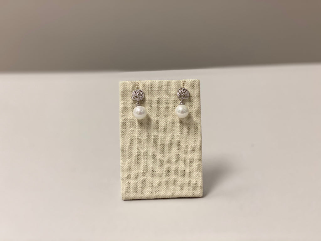 Crystal Roses & Pearl Earrings - The Persnickety Bride