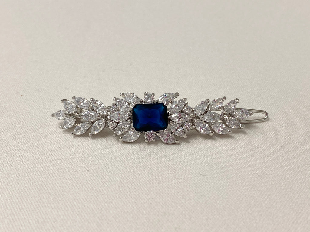 Deco Elegance Barrette Blue - The Persnickety Bride