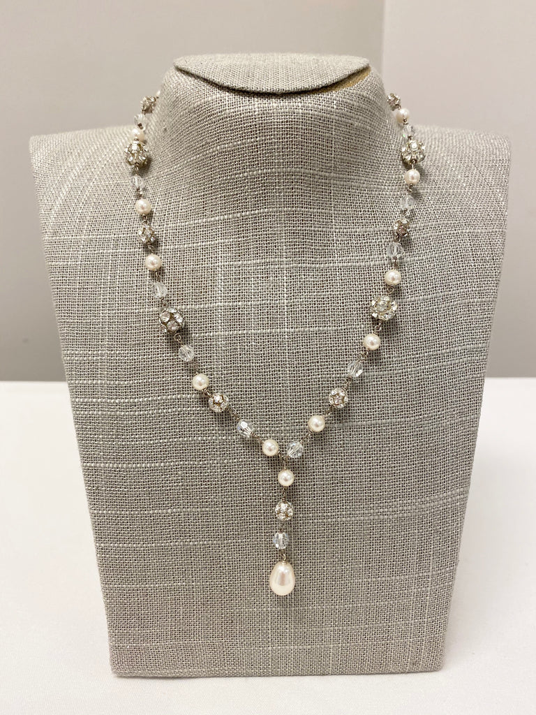 Diamond Necklace with dangle pearl - The Persnickety Bride